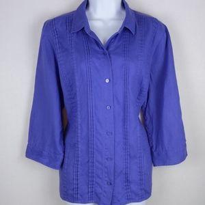"Liz Claiborne - Light purple linen 3/4"" sleeve top"